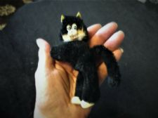 "VINTAGE CLIPPY CLIP ON HUGGER TOY 4.5"" HIGH SOFT BLACK FUR FELIX CAT LONG TAIL"